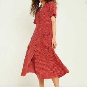 Urban outfitters red and white polka dot maxi